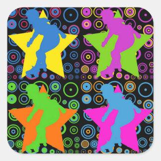 Pop Art Women's Roller Derby Square Stickers