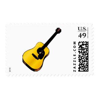 Pop Art Yellow Classic Spanish Guitar Postage Stamp