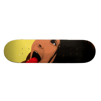 Pop Art Young Girl Catching Snowflakes on Tongue Skateboard Deck