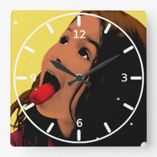 Pop Art Young Girl Catching Snowflakes on Tongue Square Wall Clock