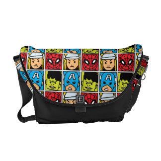 Pop Avengers Character Block Pattern Messenger Bag