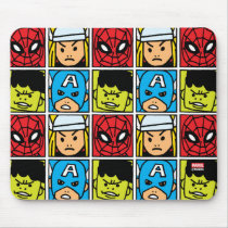 Pop Avengers Character Block Pattern Mouse Pad
