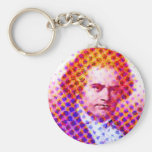 Pop Beethoven Basic Round Button Keychain