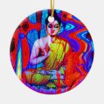 Pop Buddha Double-Sided Ceramic Round Christmas Ornament
