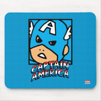 Pop Captain America Character Block with Logo Mouse Pad