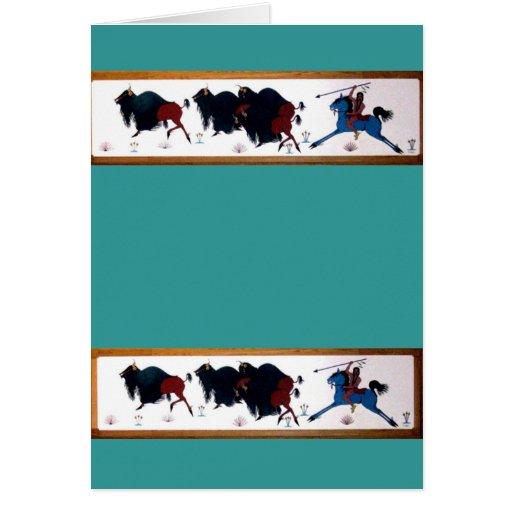 Pop Charlee Buffalo Hunting Mural Greeting Card