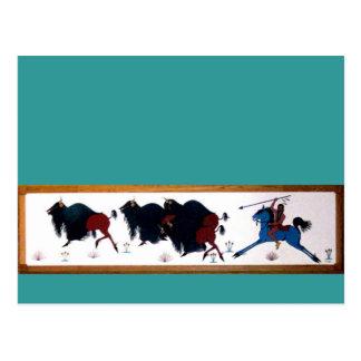 Pop Charlee Buffalo Hunting Mural Postcard