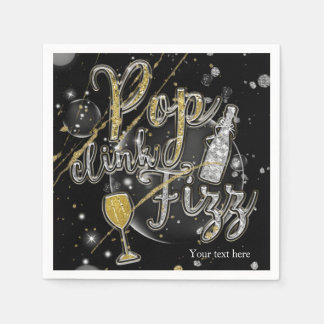 POP CLINK FIZZ Champagne Bubbles Party Celebration Paper Napkin