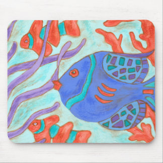 Pop-Colored Fish Mouse Pad