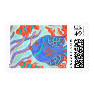 Pop-Colored Fish Postage