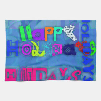 Pop Colorful Happy Holidays Kitchen Towel