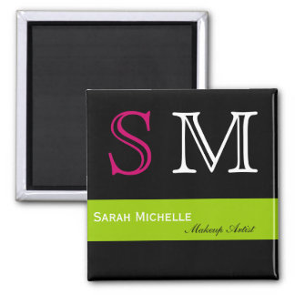 Pop Colors in Pink Green and Black 2 Inch Square Magnet