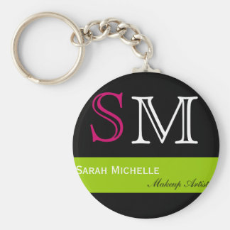 Pop Colors in Pink Green and Black Basic Round Button Keychain