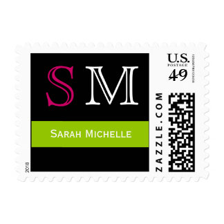 Pop Colors in Pink Green and Black Postage Stamp