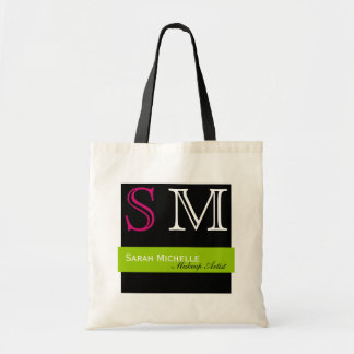 Pop Colors in Pink Green and Black Tote Bag