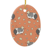 Pop Corning Guinea Pig Pattern in Orange Ceramic Ornament