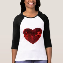 Pop Culture Red Heart Sequins Patch T-Shirt