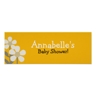 POP DAISY YELLOW FLOWER Baby Shower Banner Poster