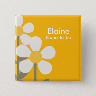 POP DAISY Yellow Flowers Personalized Button