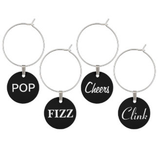 Pop, Fizz, Cheers, Clink Wine Charms on Black