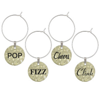 Pop, Fizz, Cheers, Clink Wine Charms on Gold