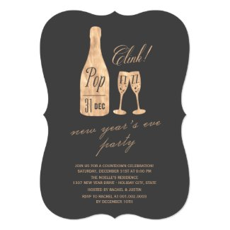 Pop Fizz Clink Champagne New Year Party Invite
