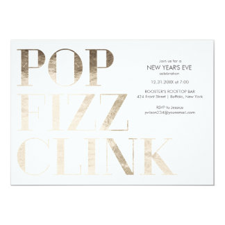 Pop Fizz Clink Faux Gold Foil New Year's Card