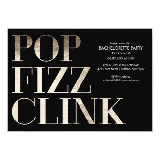 Pop Fizz Clink Gold Bachelorette Party Faux Foil Card