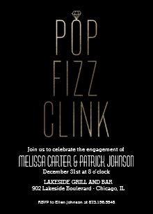 pop fizz clink new year engagement party faux foil invitation