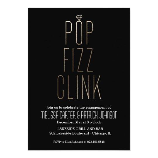 pop fizz clink new year engagement party faux foil invitation