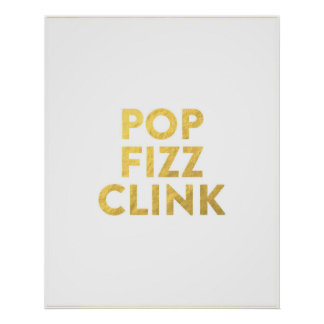 POP FIZZ CLINK New Years Eve Party Bar Cart Sign Print