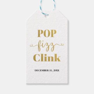 POP FIZZ CLINK White & Gold Gift Tag