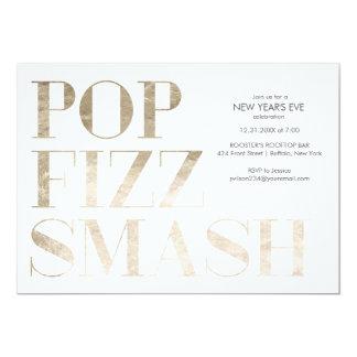 Pop Fizz Smash Faux Gold Foil New Year's Card