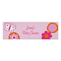 Pop Flower Butterfly Baby Shower Banner Sign