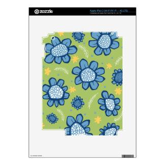 Pop Flowers blue iPad 3 Skin