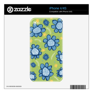 Pop Flowers blue iPhone 4/4S Skin Skin For The iPhone 4S