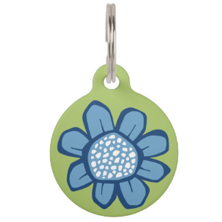 Pop Flowers blue Pet Tag Large