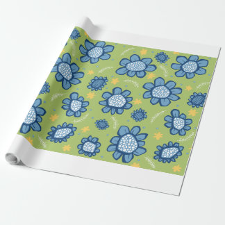 Pop Flowers blue Wrapping Paper