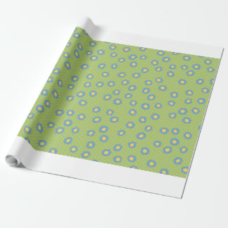 Pop Flowers Florettes blue Wrapping Paper
