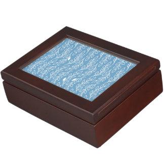 Pop Flowers Leaves blue Keepsake Box