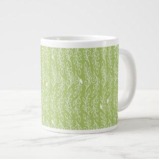Pop Flowers Leaves green Jumbo Mug