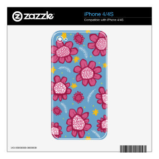 Pop Flowers pink iPhone 4/4S Skin Skins For iPhone 4S