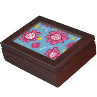 Pop Flowers pink Keepsake Box