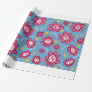 Pop Flowers pink Wrapping Paper