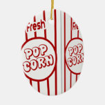 Pop Fresh corn Double-Sided Oval Ceramic Christmas Ornament
