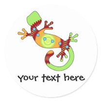 pop gecko orange classic round sticker