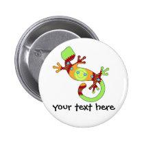 pop gecko orange pinback button