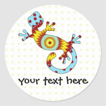 pop gecko sunburst classic round sticker