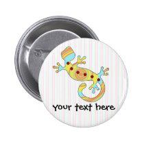 pop gecko swirly pinback button