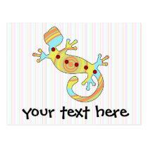 pop gecko swirly postcard